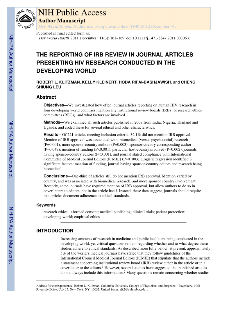 Irb Administrator Cover Letter Views Of The Process And Content Of Ethical Reviews Of Hiv Vaccine