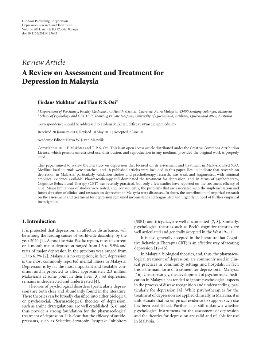 Pdf A Review On Assessment And Treatment For Depression