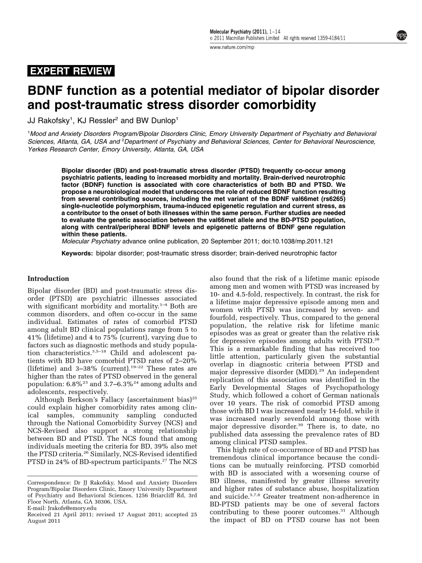 BDNF Function As A Potential Mediator Of PDF Download Available