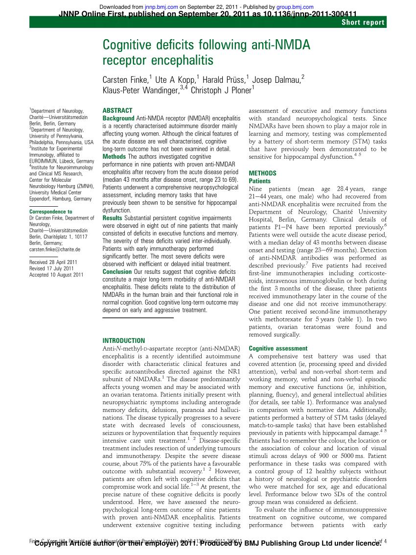 (PDF) Cognitive deficits following anti-NMDA receptor encephalitis