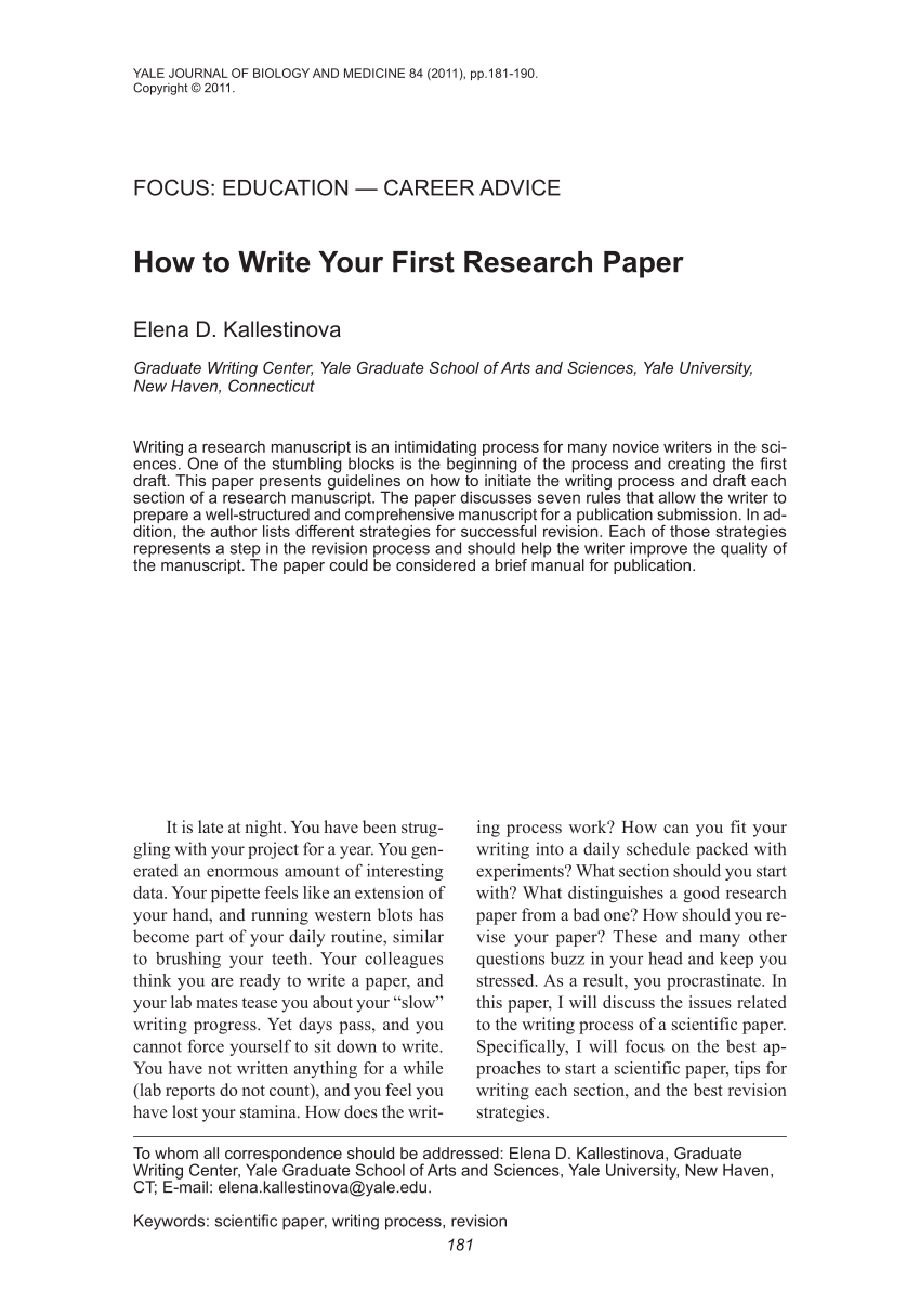 PDF How To Write Your First Research Paper