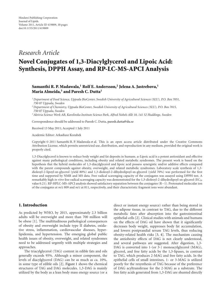 (PDF) Novel conjugates of 1.3-diacylglycerol and lipoic acid: Synthesis. DPPH assay. and RP-LC-MS-APCI analysis