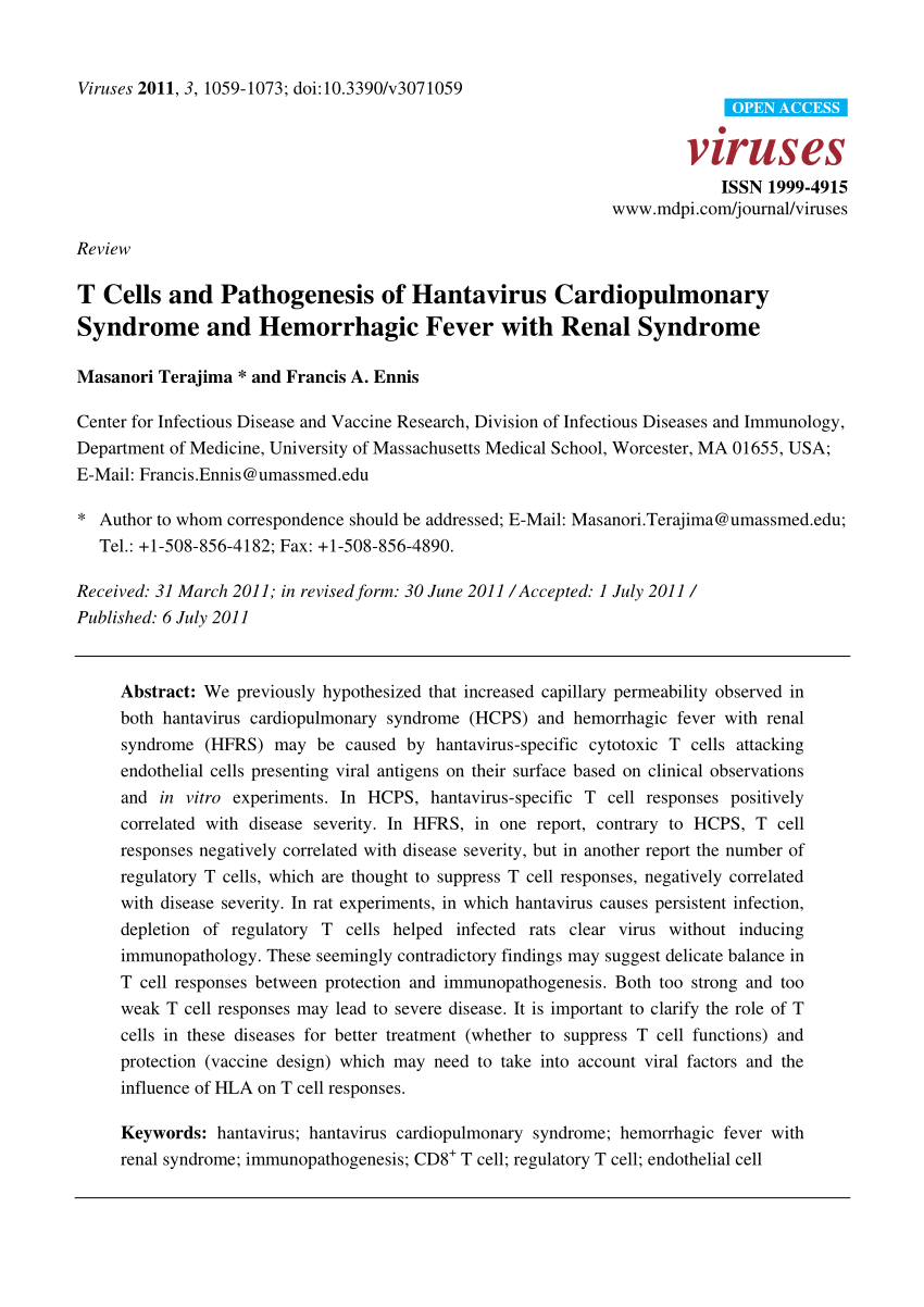 PDF) T Cells and Pathogenesis of Hantavirus Cardiopulmonary ...