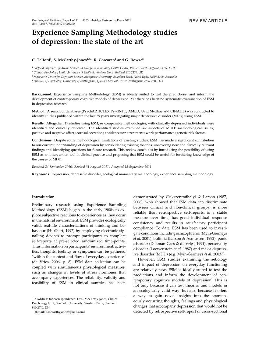 PDF Experience Sampling Methodology Studies Of Depression The