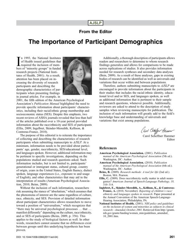 PDF) The Importance of Participant Demographics