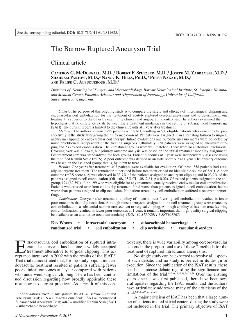 (PDF) The Barrow Ruptured Aneurysm Trial