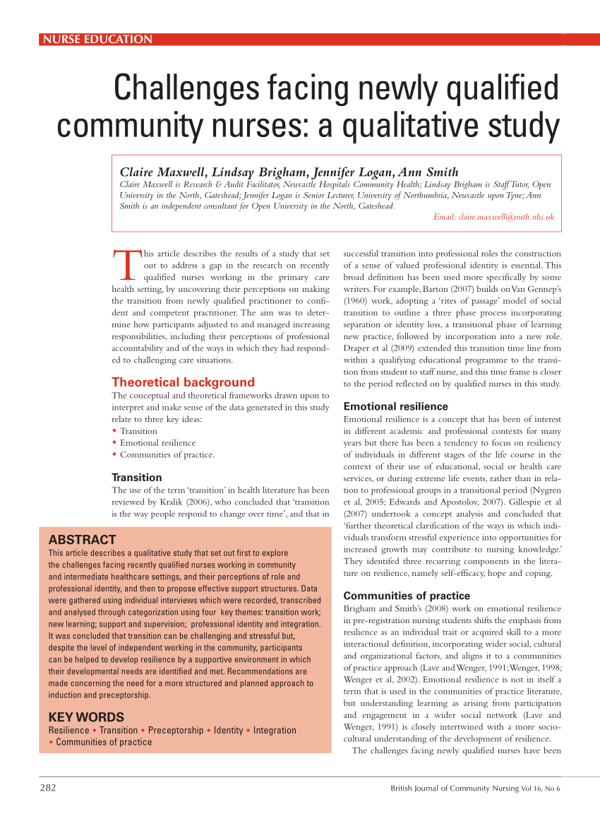 Pdf Challenges Facing Newly Qualified Community Nurses