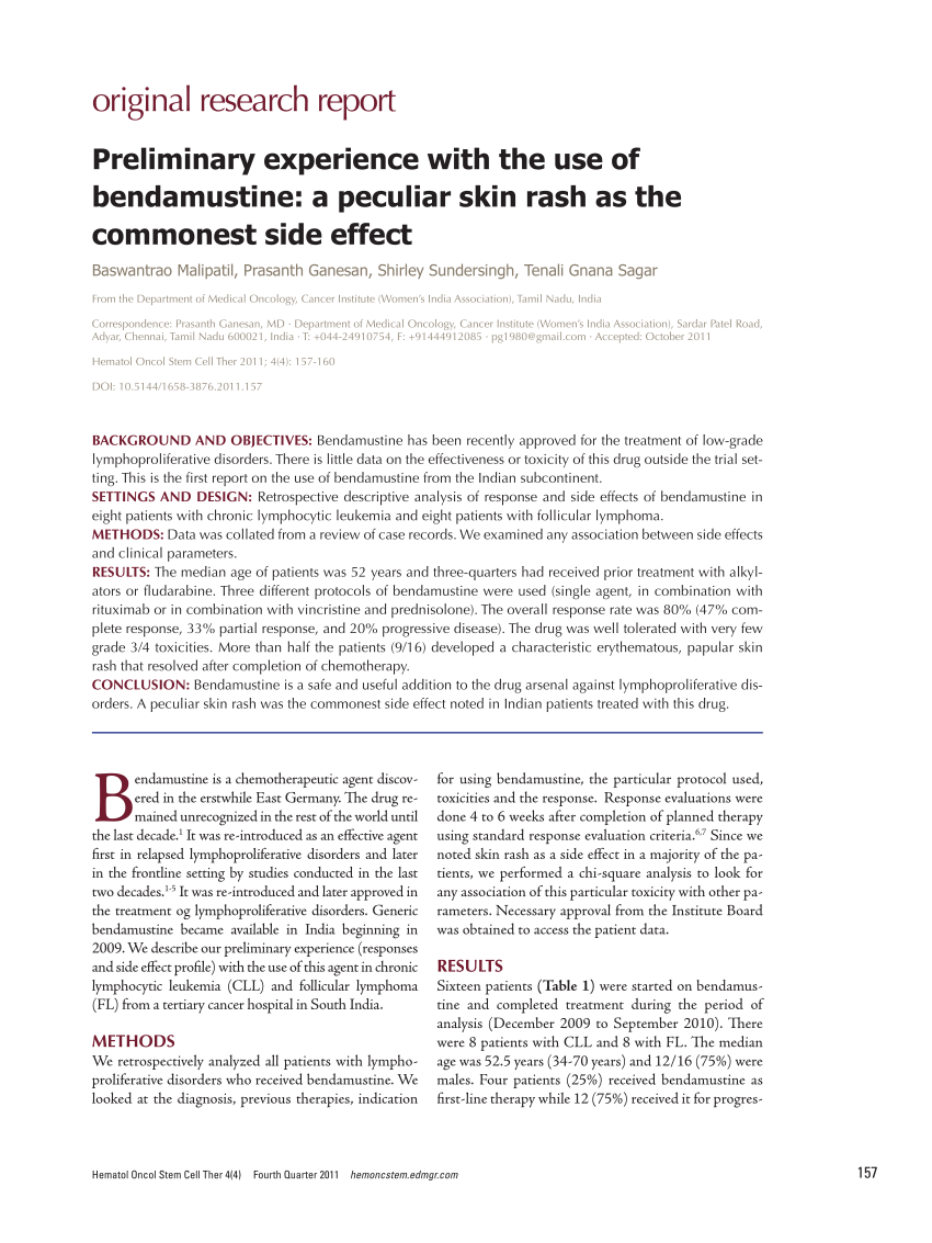 (PDF) Preliminary experience with the use of bendamustine ...