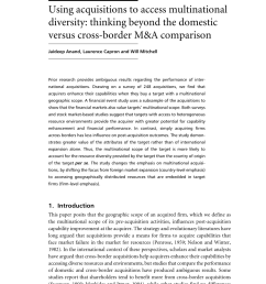 pdf using acquisitions to access multinational diversity thinking beyond the domestic versus cross border m a comparison [ 850 x 1188 Pixel ]