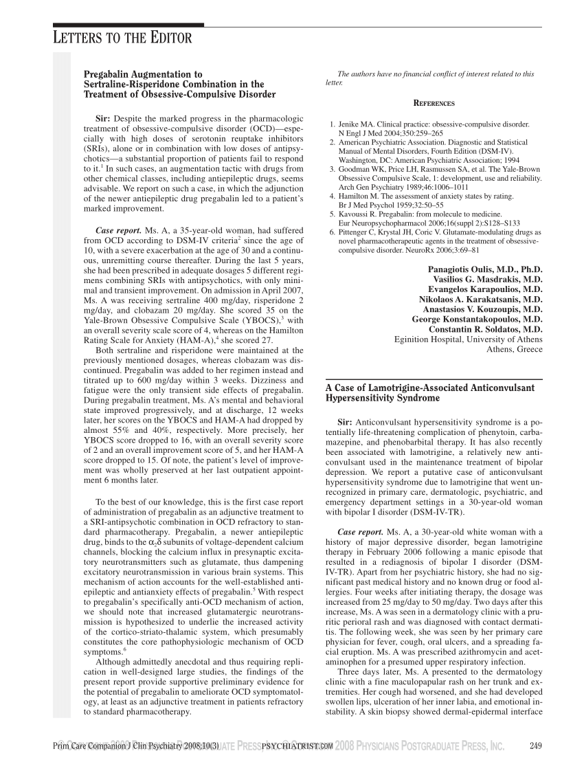 (PDF) Pregabalin Augmentation to Sertraline-Risperidone