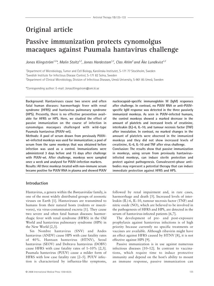 PDF) Passive immunization protects cynomolgus macaques against ...
