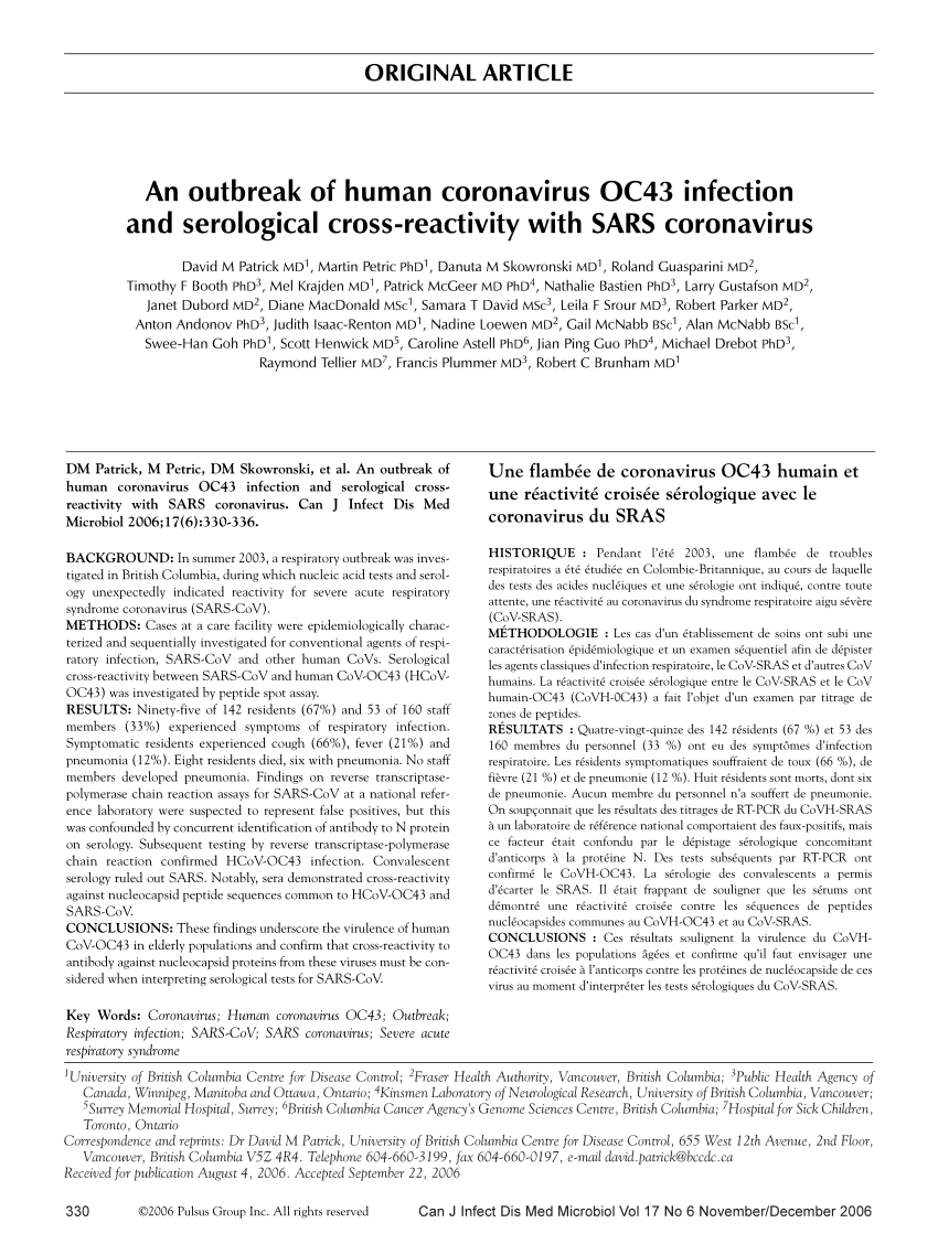 PDF) An Outbreak of Human Coronavirus OC43 Infection and ...
