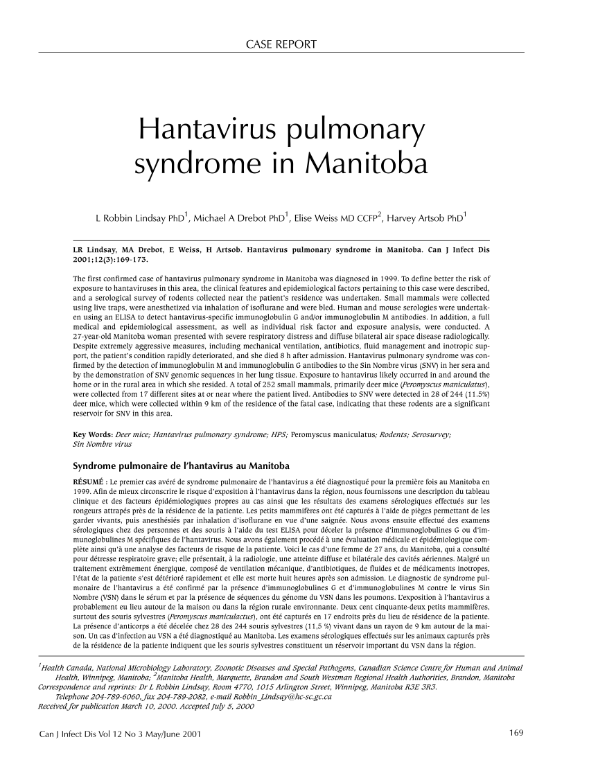 PDF) Hantavirus Pulmonary Syndrome in Manitoba