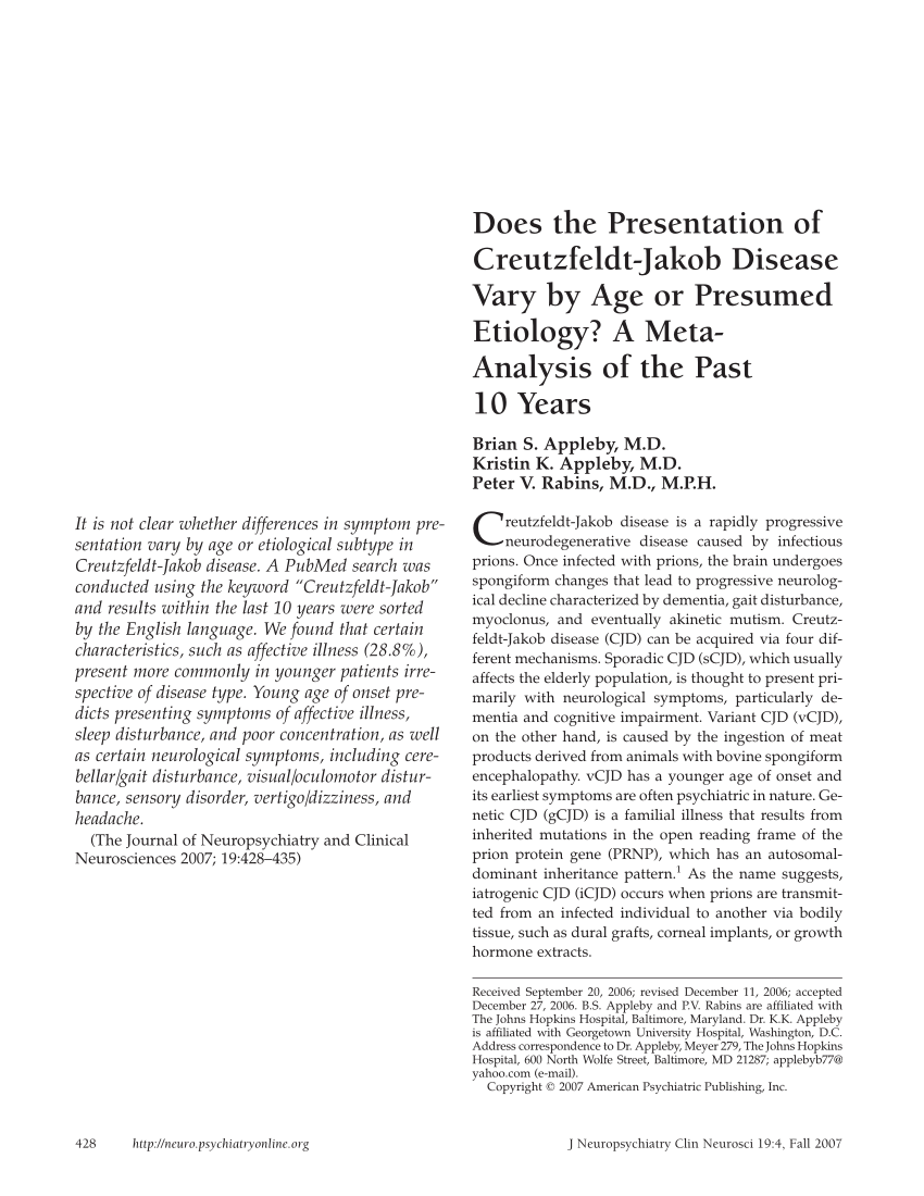 North Point Cjd : north, point, Presentation, Creutzfeldt-Jakob, Disease, Presumed, Etiology?, Meta-Analysis, Years