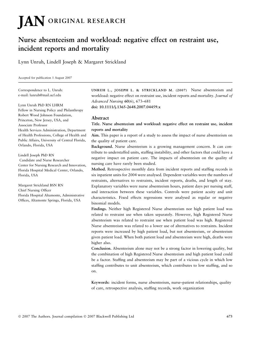PDF Nurse Absenteeism And Workload Negative Effect On Restraint