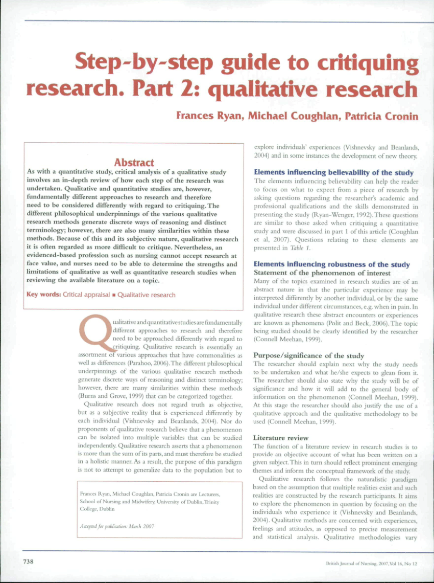 PDF Step By Step Guide To Critiquing Research Part 2 Qualitative