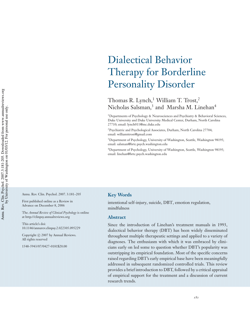 PDF Dialectical Behavior Therapy For Borderline Personality Disorder