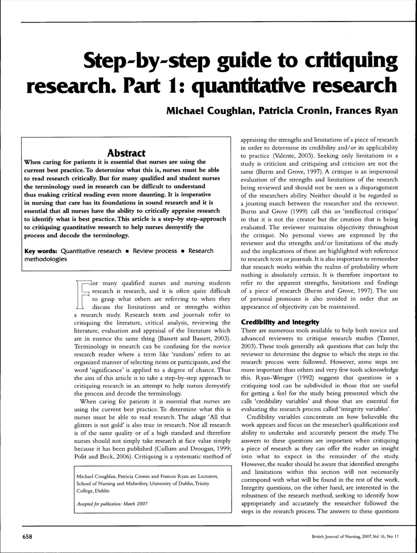 PDF Step By Step Guide To Critiquing Research Part 1 Quantitative
