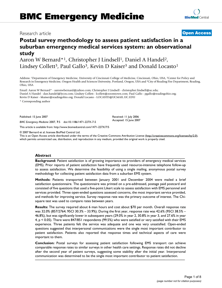 (Pdf) Postal Survey Methodology To Assess Patient Satisfaction In A  Suburban Emergency Medical Services System: An Observational Study
