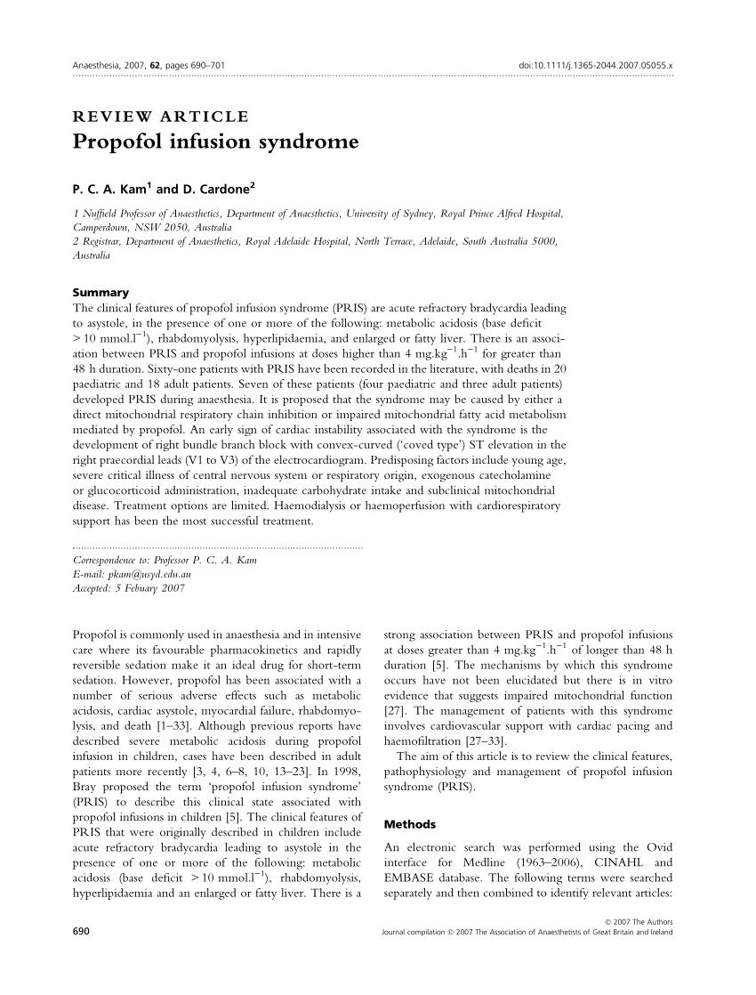 (PDF) Propofol infusion syndrome