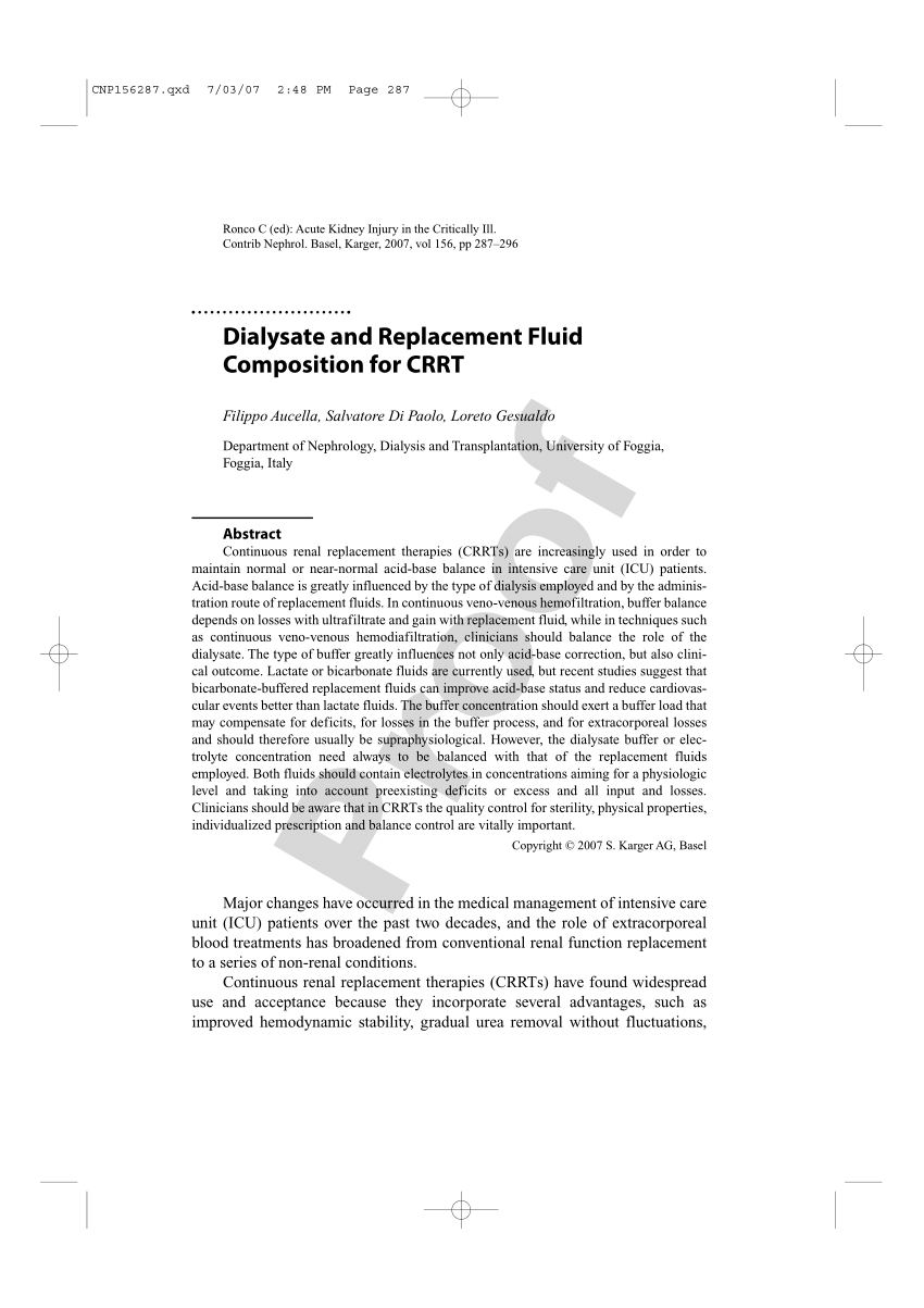 (PDF) Dialysate and Replacement Fluid Composition for CRRT