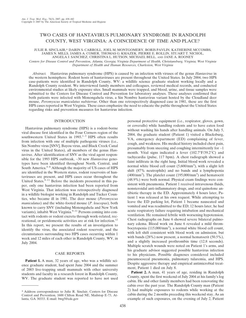PDF) Two cases of Hantavirus pulmonary syndrome in Randolph County ...