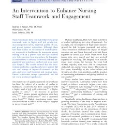 pdf an intervention to enhance nursing staff teamwork and engagement [ 850 x 1174 Pixel ]