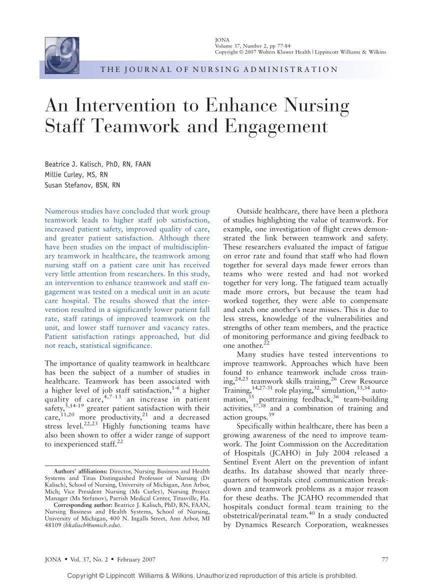 hight resolution of  pdf an intervention to enhance nursing staff teamwork and engagement