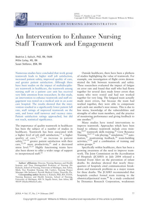 small resolution of  pdf an intervention to enhance nursing staff teamwork and engagement