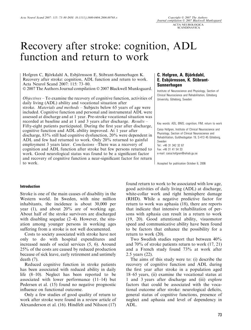 (PDF) Recovery after stroke: Cognition. ADL-function and return to work
