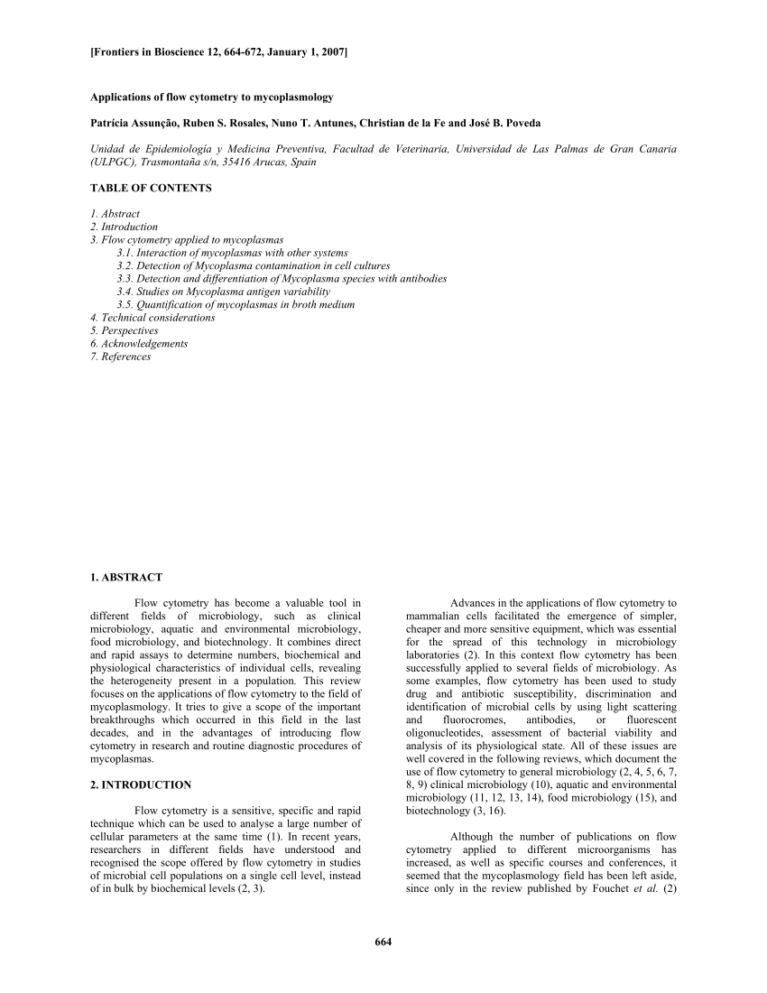 PDF) Applications of flow cytometry to...