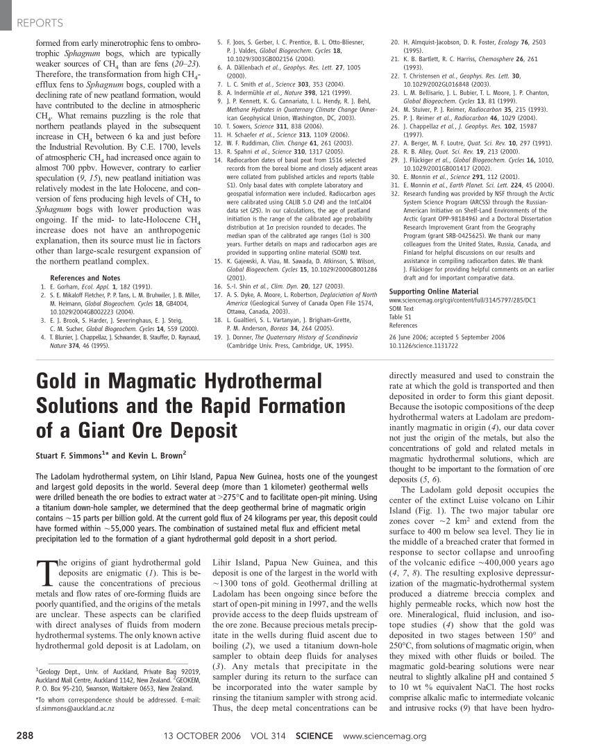 (PDF) Gold in Magmatic Hydrothermal Solutions and the