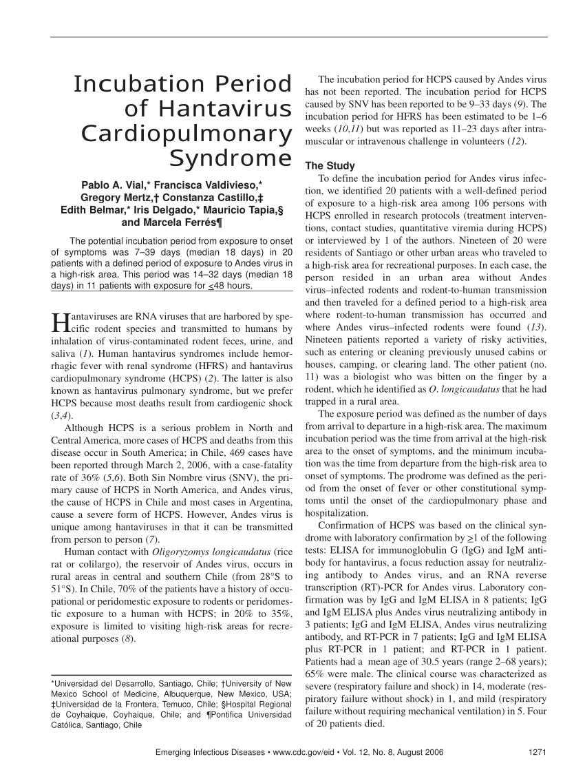 PDF) Incubation Period of Hantavirus Cardiopulmonary Syndrome