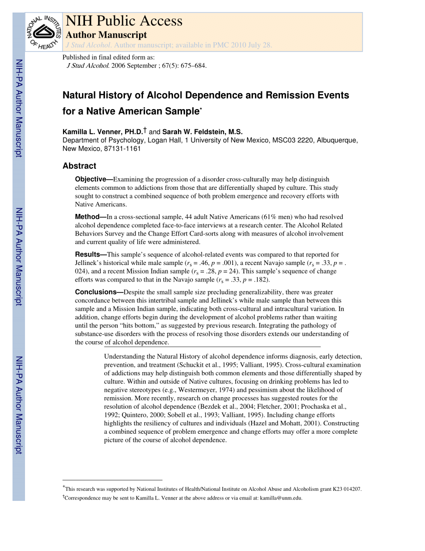 Natural History Of Alcohol Dependence And PDF Download Available