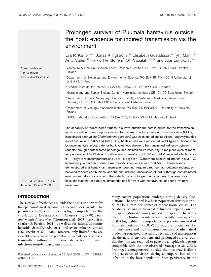 PDF) Prolonged survival of Puumala hantavirus outside the host ...