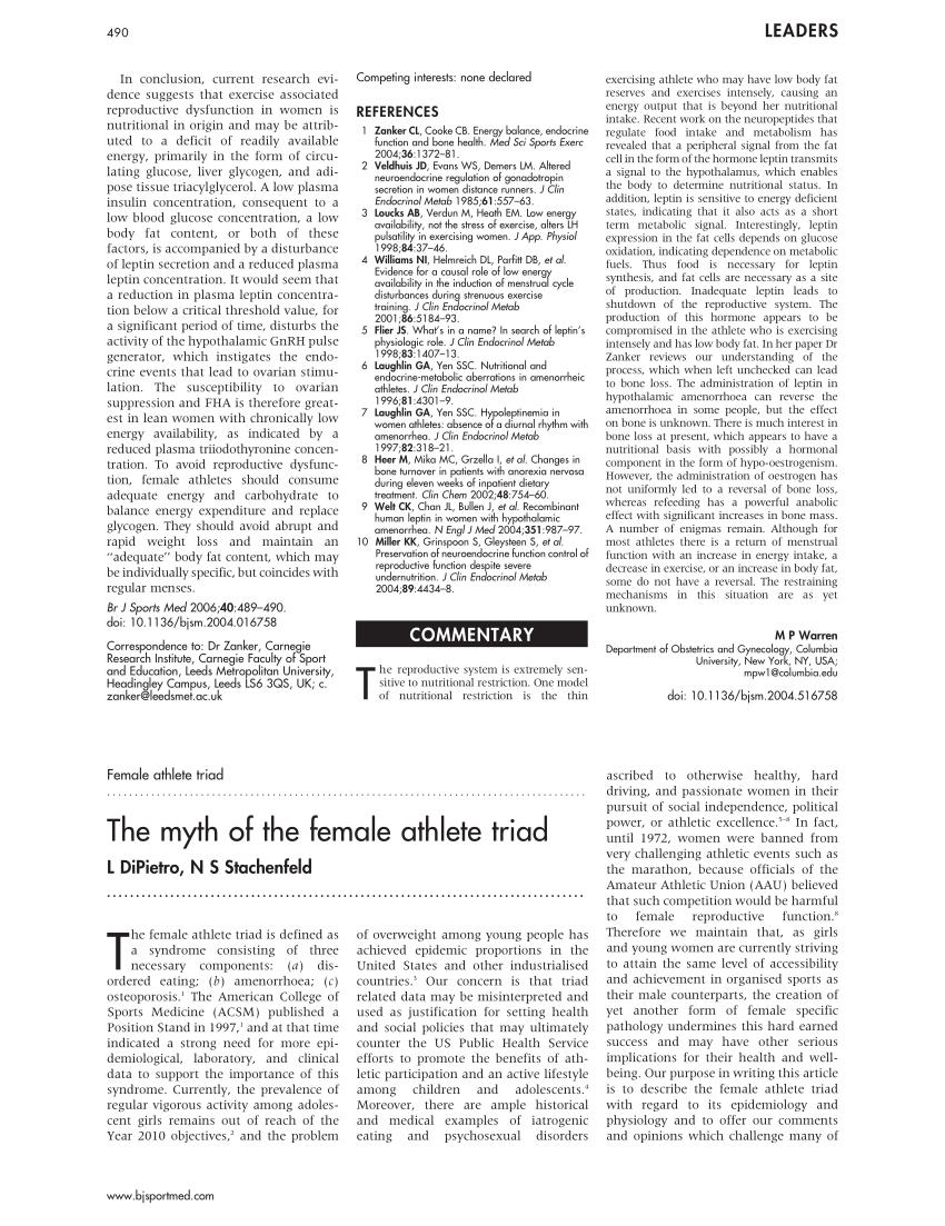 (PDF) The myth of the 'Female athlete triad'