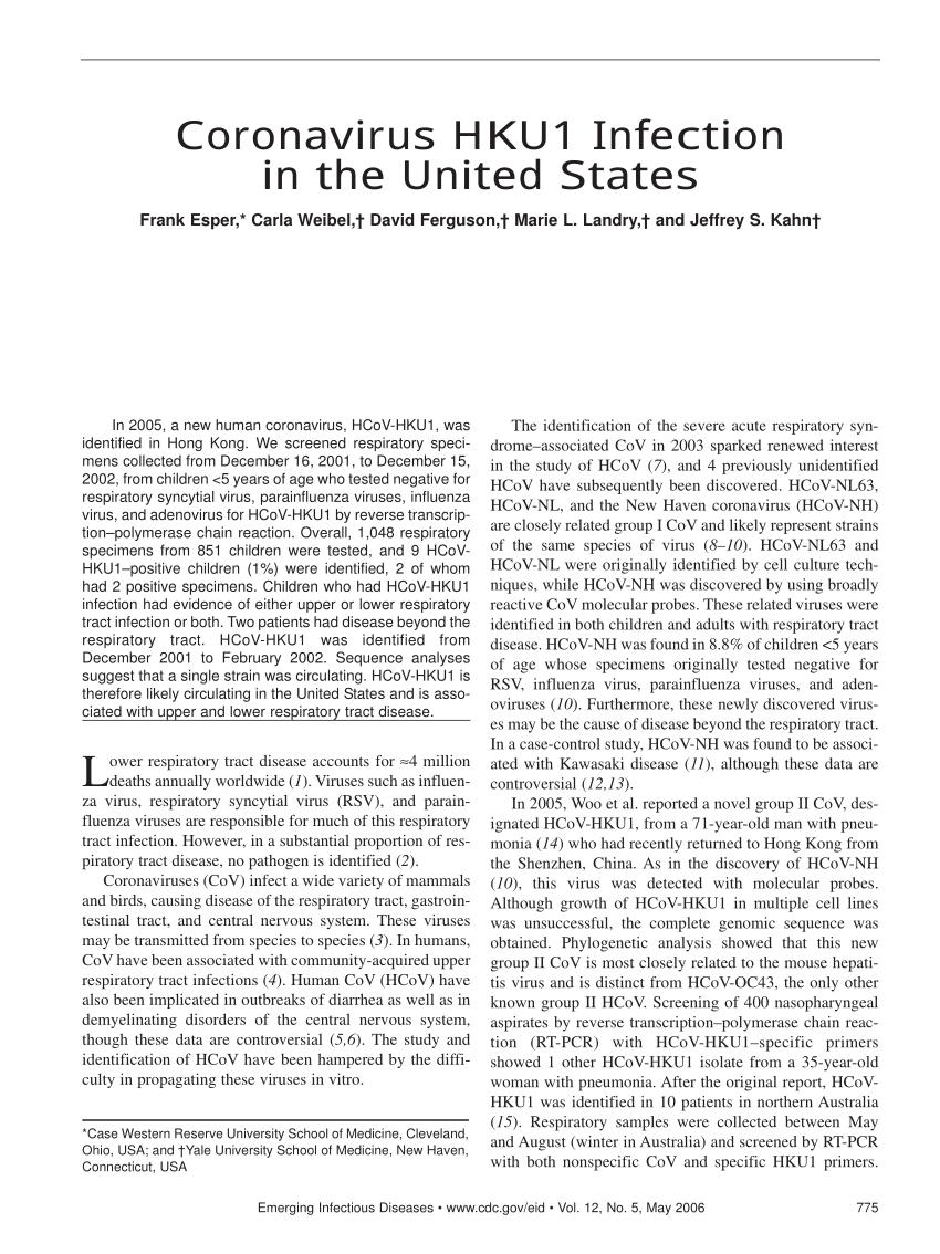 PDF) Coronavirus HKU1 Infection in the United States