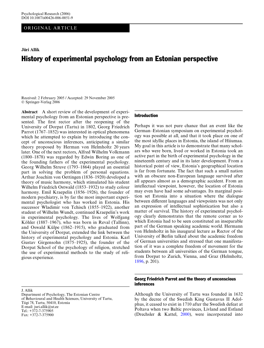 (PDF) History of experimental psychology from an Estonian
