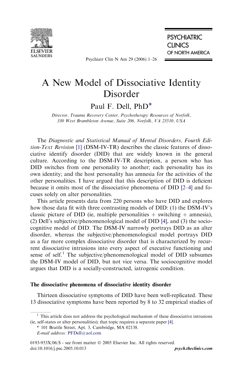 PDF A New Model Of Dissociative Identity Disorder