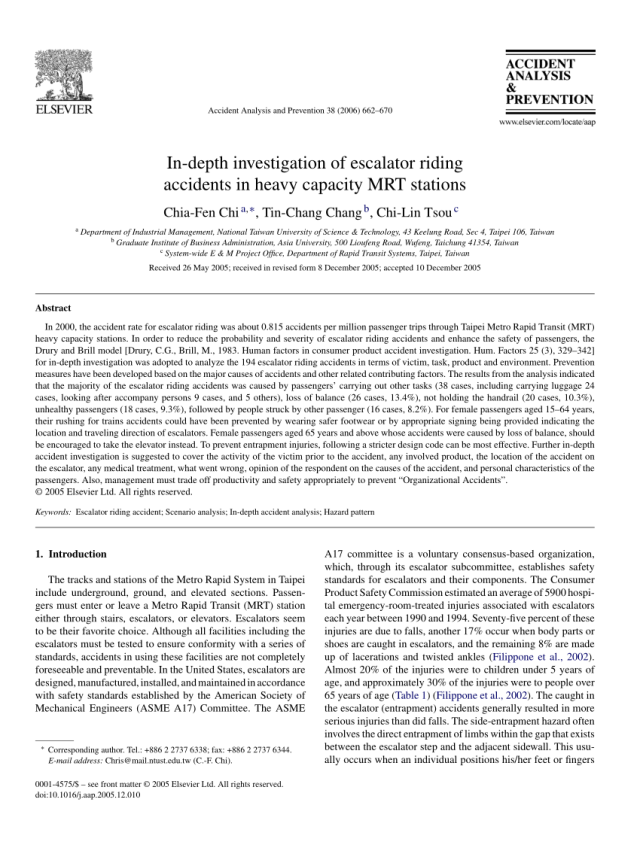 PDF) In-depth investigation of escalator riding accidents in heavy