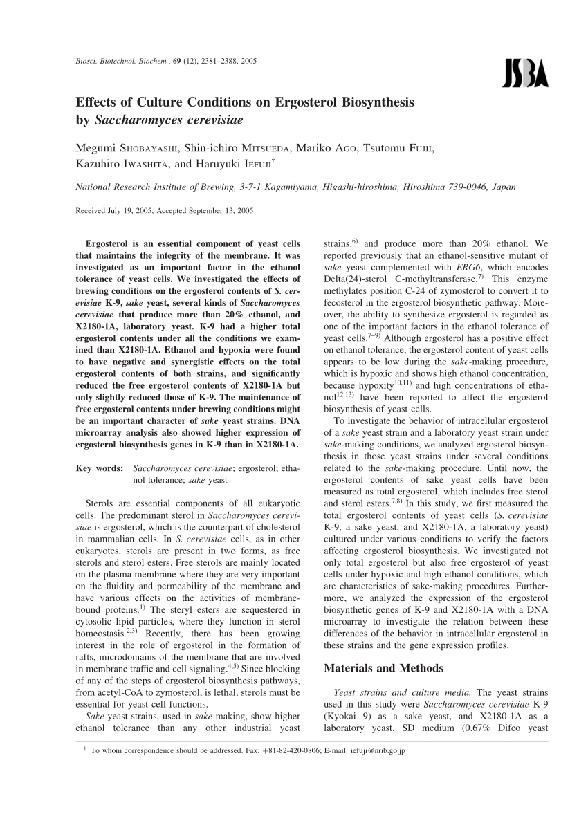 (PDF) Effects of Culture Conditions on Ergosterol ...