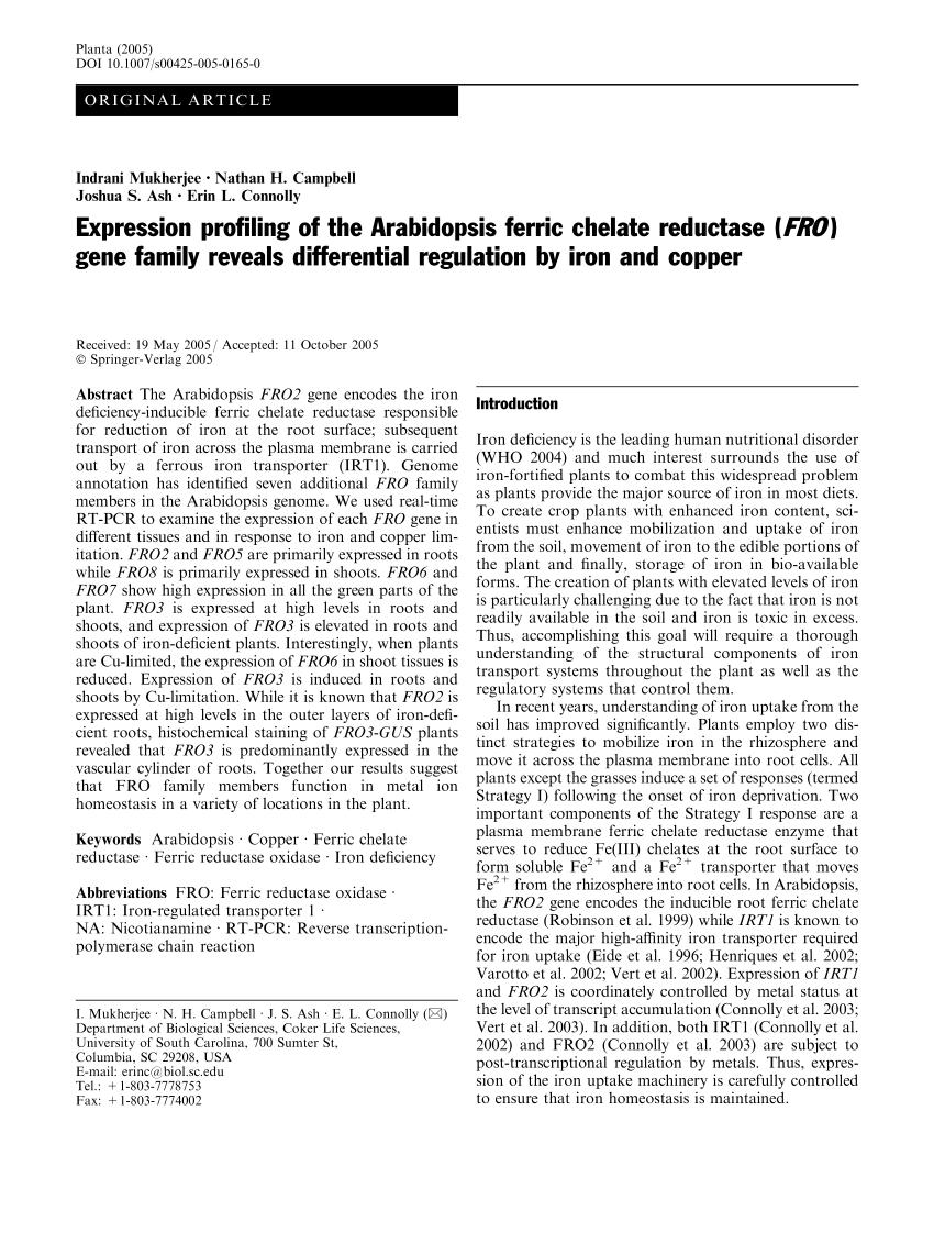 (PDF) Expression profiling of the Arabidopsis ferric