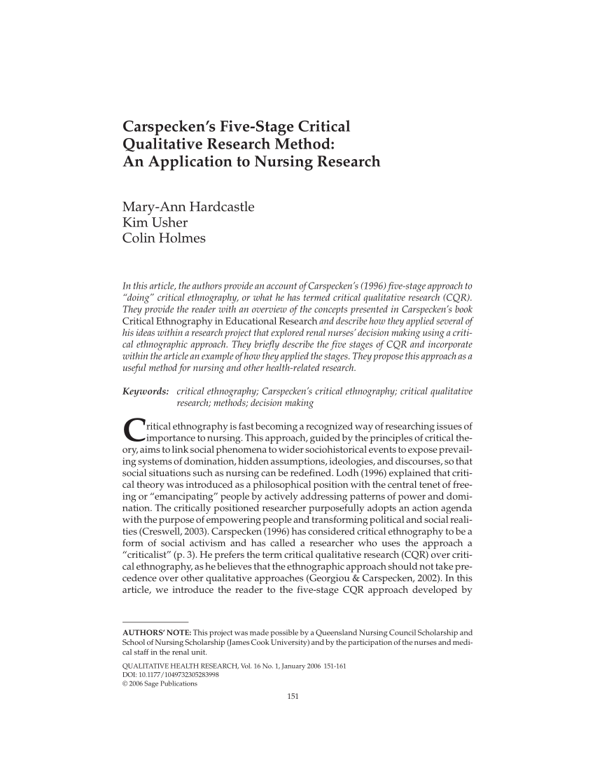 PDF Carspecken's Five Stage Critical Qualitative Research Method