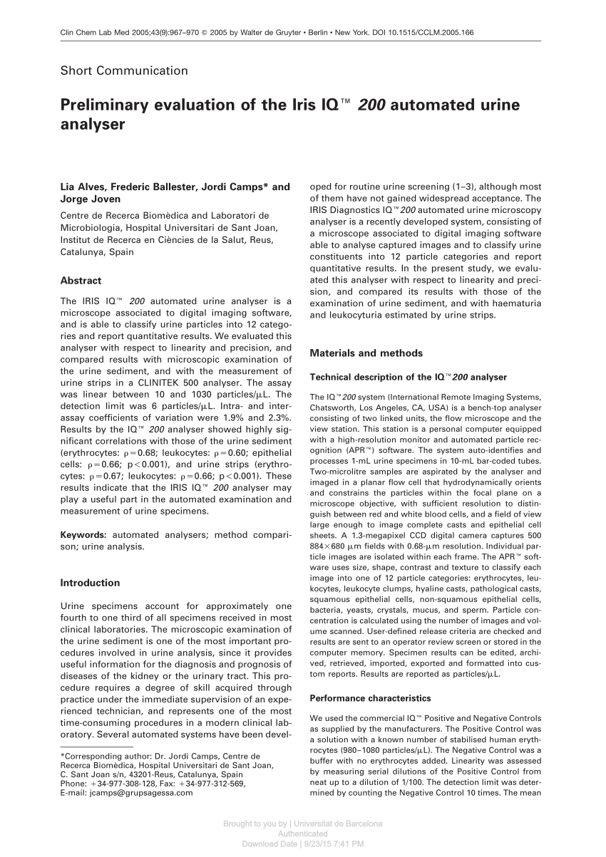 medium resolution of  pdf preliminary evaluation of the iris iq 200 automated urine analyser