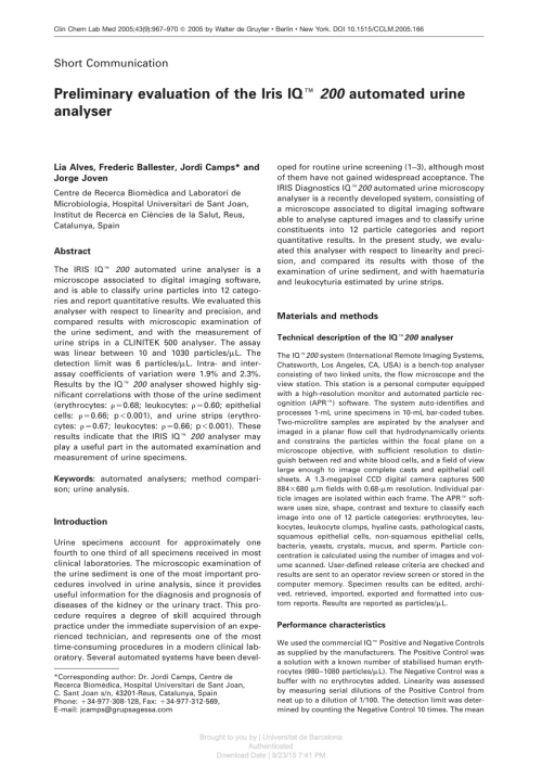 small resolution of  pdf preliminary evaluation of the iris iq 200 automated urine analyser