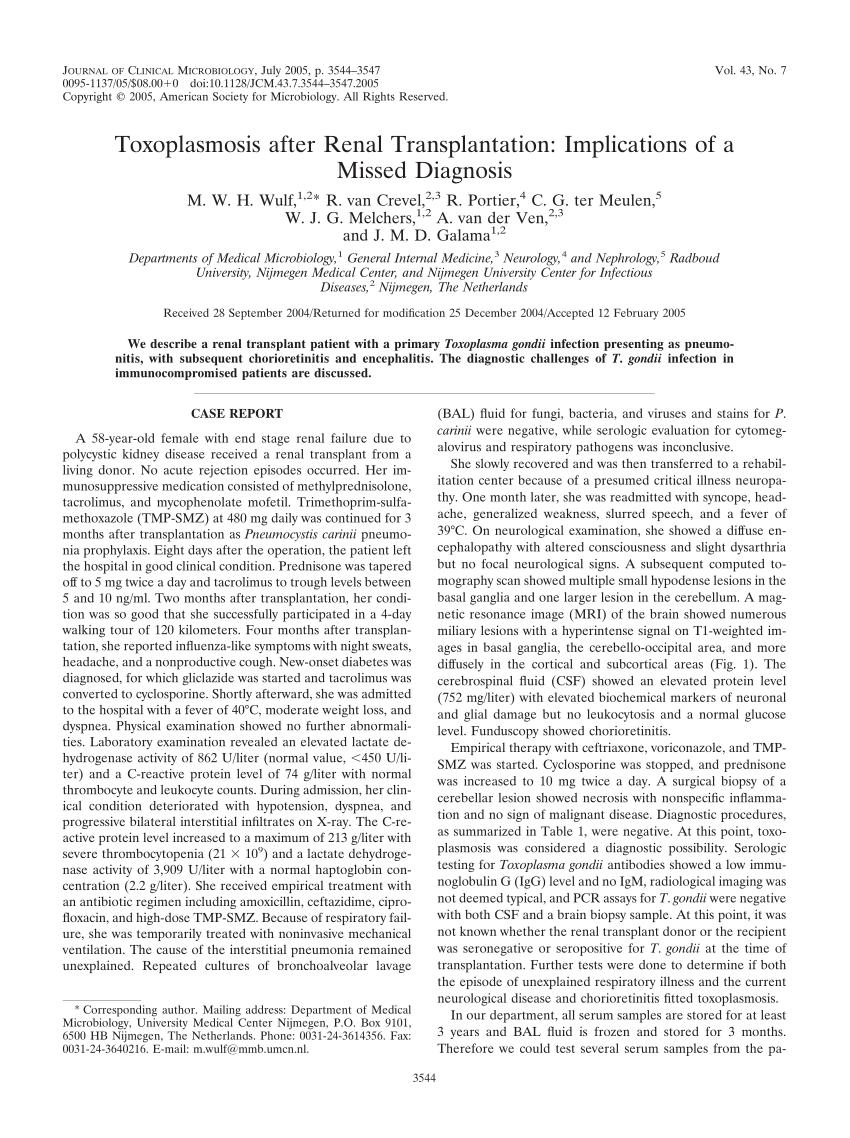 PDF) Toxoplasmosis after Renal Transplantation: Implications of a ...