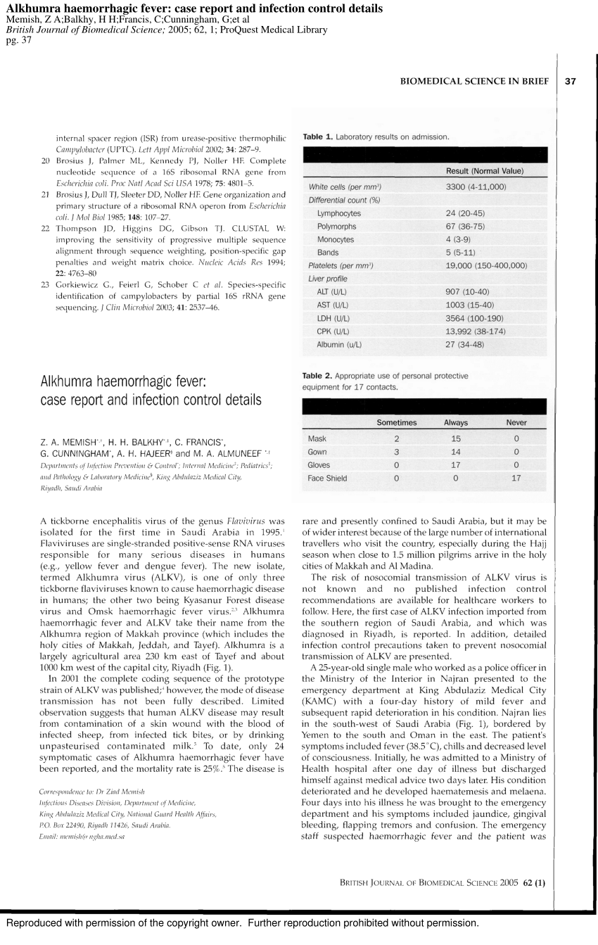 (PDF) Alkhumra haemorrhagic fever: Case report and