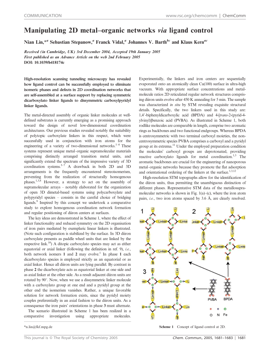 hight resolution of surface template assembly of two dimensional metal organic coordination networks sebastian stepanow request pdf