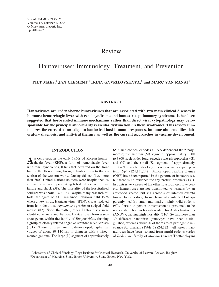 PDF) Hantaviruses: Immunology, Treatment, and Prevention
