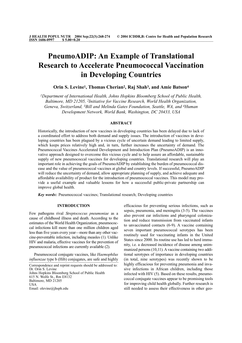 PDF PneumoADIP An Example Of Translational Research To Accelerate